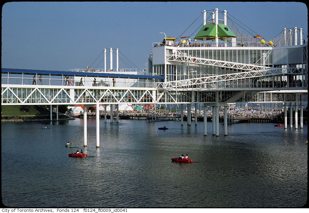 A view of Ontario Place over the water.