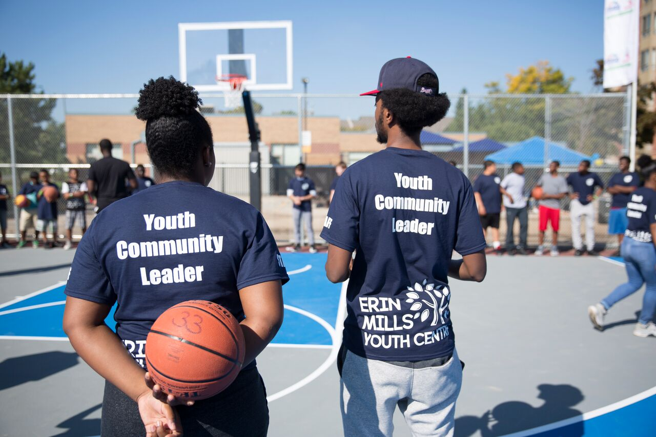 Two youth leaders at Ridgeway Community Courts.
