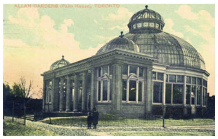 An archive photo of the conservatory at Allan Gardens.