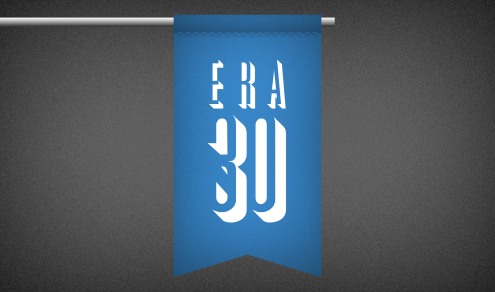 A flag with ERA 30 on it
