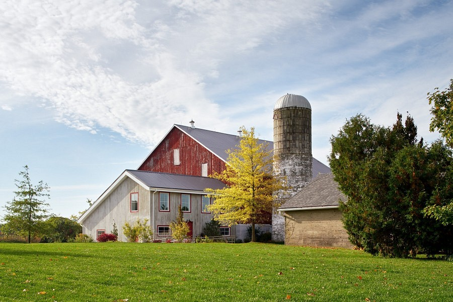 Cambium Farms barn and silo