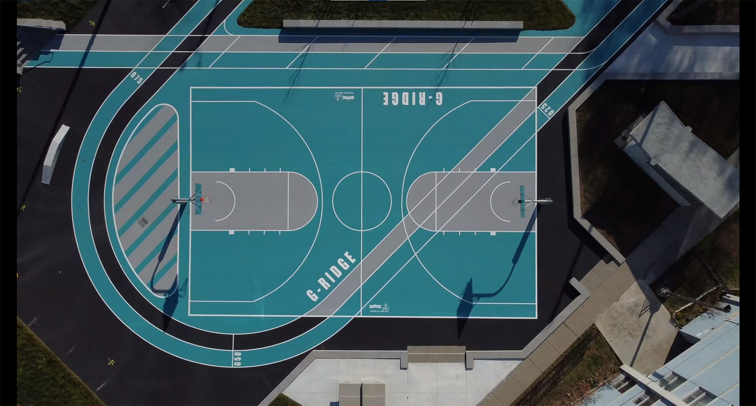Bird's eye drone view of the gordonridge basketball court