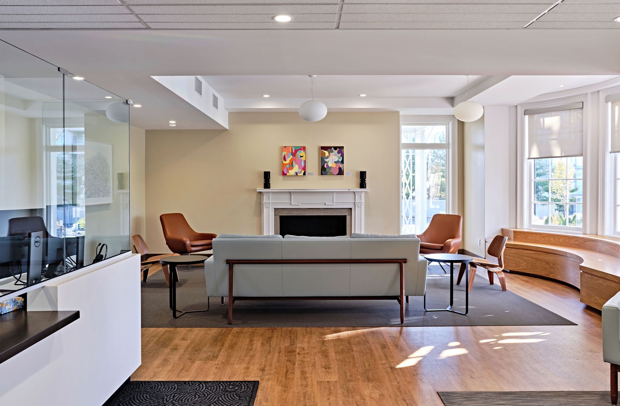 Front lobby showing couches and chairs and front desk